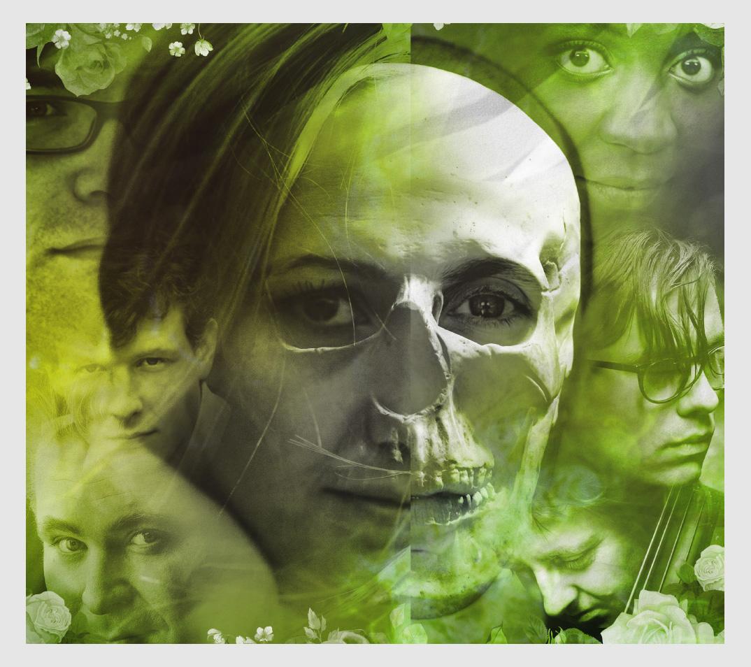 Fotokollage av artisters ansikten och ett kranium