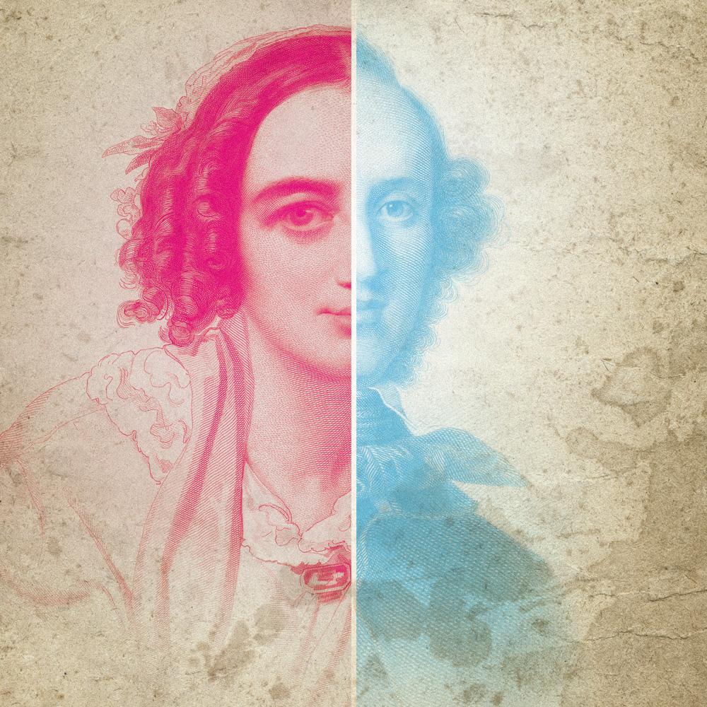 En tvådelad bild med Fanny och Felix Mendelssohn
