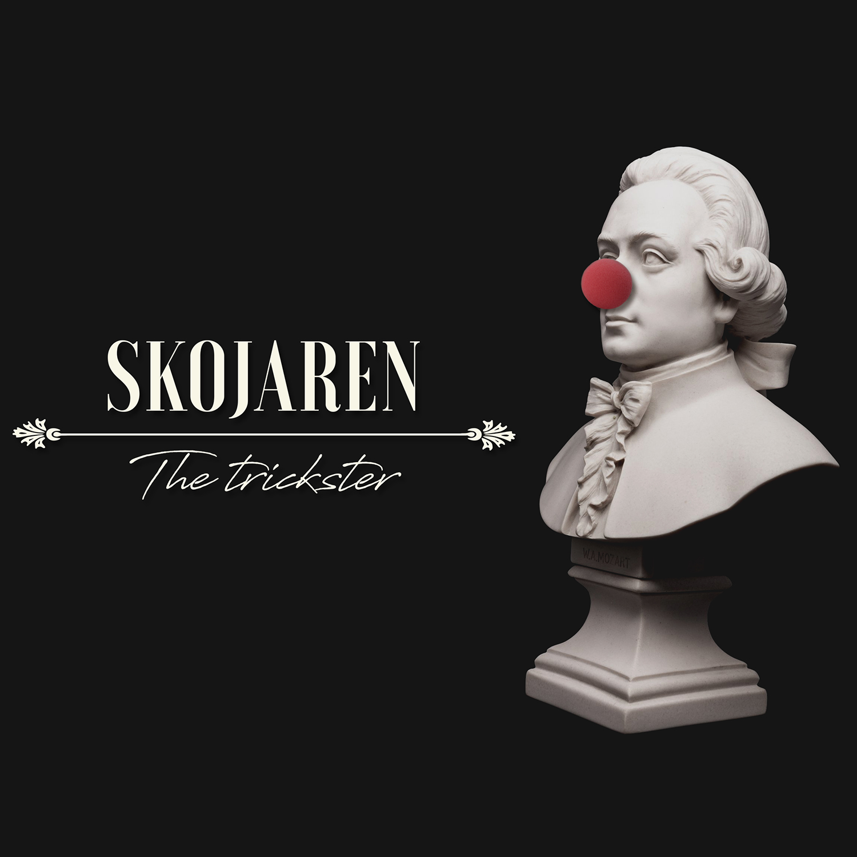 Byst föreställande Mozart med clownnäsa