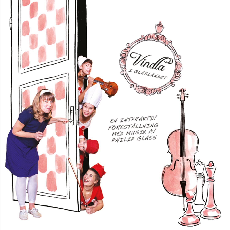 Illuastration med schackrutig dörr, instrument samt fem realistiska människor